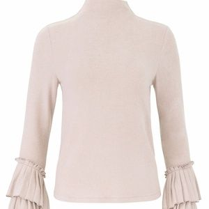 B Collection by Bobeau Pink Mock Neck Ruffle Top